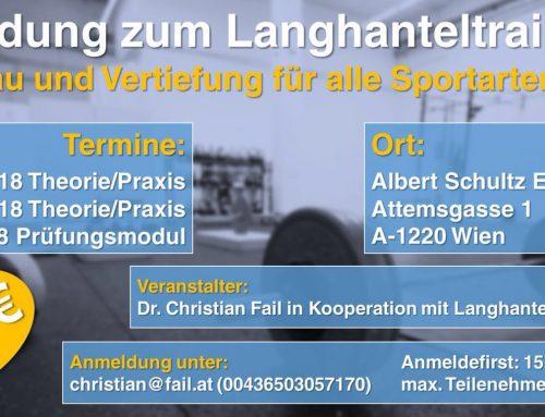 AUSBIDLUNGS ZUM LANGHANTELTRAINER(IN)